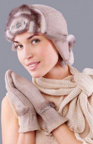 Продам женскую шапку-ушанку меринос норка