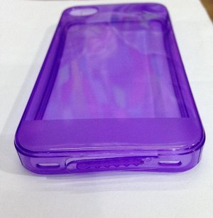 Чехол силикон цветной с заглушками iphone 4