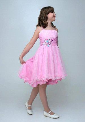 Платье 2Н9 2Н9-2 розовый Ткань:матовый атлас, трикотажная сеточка на юбке испачкана сеточка.оторван ярлык.уценка.цена у платья опт 1260р