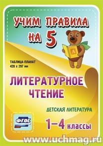 ФГОС,Литературное чтение. Детская литература. 1-4 классы.,Таблица-плакат 420х297,(А3 свернут в А5)