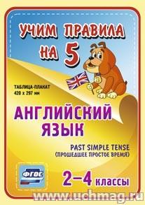 ФГОС,Английский язык. Past Simple Tense (прошедшее простое время). 2-4 классы.,Таблица-плакат 420х297,(Формат А3 свернут в А5)