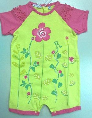 Песочник для девочки Зеленый в розовый цветок