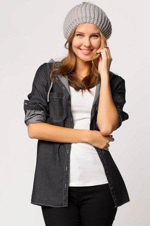 рубашка Рубашка из тонкой джинсы с трикотажным капюшоном серого цвета