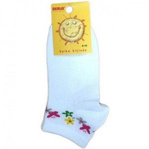 носки укороченные , с рис. для девочек - цветы