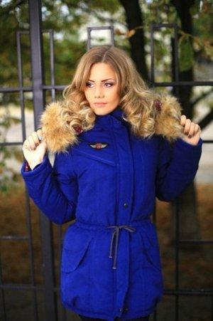 Пальто из парки на синтепоновой подкладке синее