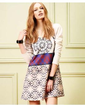 Интересное платье из плотной ткани на 46 размер из известной закупки