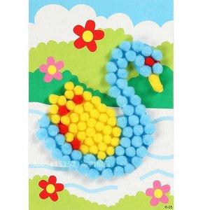 Аппликация плюшевыми шариками лебедь