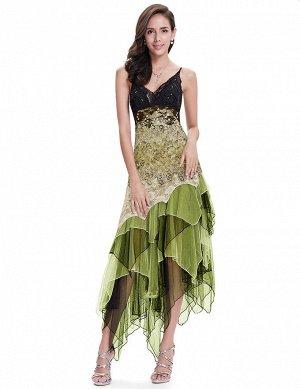 Яркое зеленое коктейльное платье