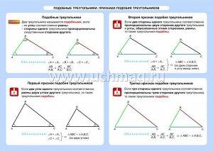 ФГОС,Геометрия. Подобные треугольники. Признаки подобия треугольников. 7-11 классы.,Таблица-плакат 420х297,(Формат А3 свернут в
