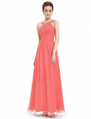 Платье в пол вечернее 44р-р,  шифон, коралловый цвет