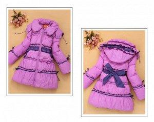 Пуховое пальто лиловое