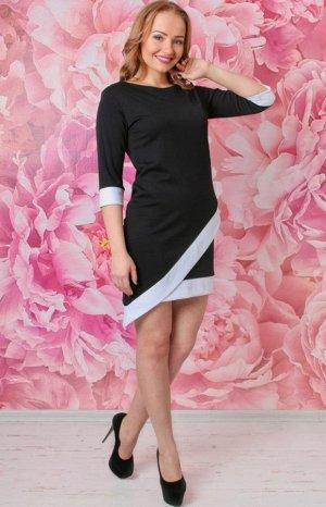 Плать Платье косого кроя, с обработкой низа контрастной каймой арт. ГШ-1. Состав: Милано однотонное (вискоза 65%, полиэстр 30%, лайкра 5%).