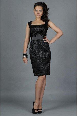 Платье Старая цена 1300 Нарядное платье прилегающего силуэта с потайной молнией по спинке. Неповторимость модели придает элегантный бант и глубокий квадратный выре