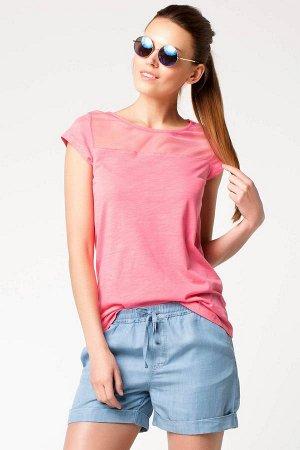 Футболка-Блуза розовая, Х/Б , сеточка,  свободного покроя, приятная к телу, раз.48-50