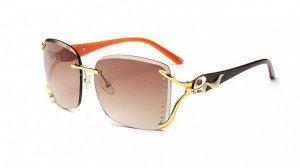 Солнцезащитные очки коричневые  с лисичкой и оранжевой дужкой
