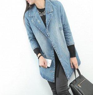 Пиджак джинс, прямой крой