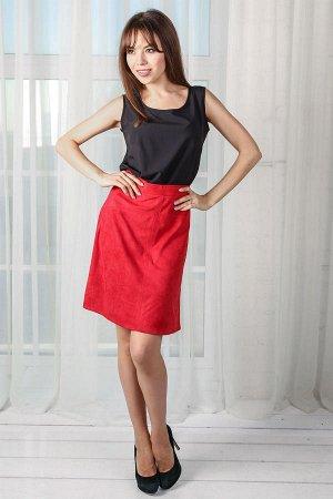 Красная замшевая юбка