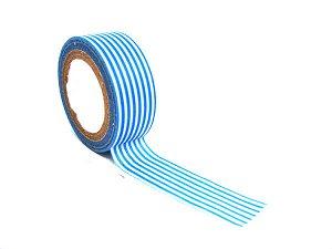 Бумажный скотч 15ммх8м белый в голубую полоску