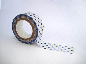 Бумажный скотч 15ммх8м белый в голубой горох