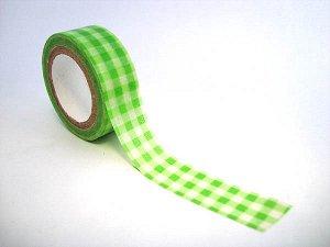 Бумажный скотч 15ммх8м зеленая клетка