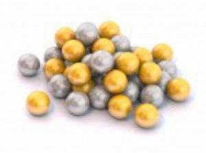 Шарики диам. 6 см. 50 шт.цвет золотой и серебряный ,сетка  тм Нордпласт