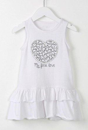 Платье Платье с низкой талией без рукавов, с оборками, принтом в виде сердца и хрустальными деталями.