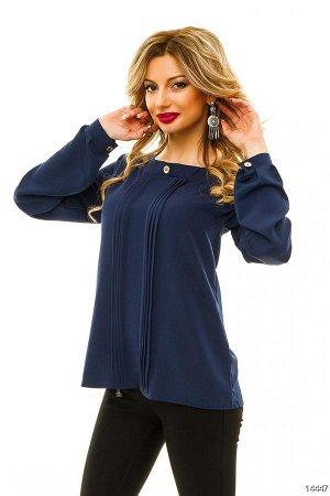 Блуза Материал: креп-шифон.;; Длина: 64 см, рукав по внутреннему шву - 50 см.Однотонная блузка со складочками и круглым украшением на воротничке.