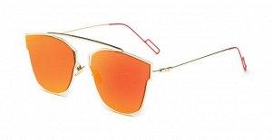 Солнцезащитные очки оранжевые зеркальные в тонкой оправе