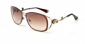 Солнцезащитные очки коричнево-бордовые с цветочком и лепестками на дужках