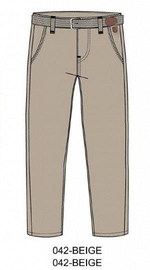 Брюки Бежевые хлопковые брюки-чиносы. Двойные передние карманы и невидимые задние карманы с застежкой на пуговицы. В комплекте бежевый ремень с серебряной металлической пряжкой.