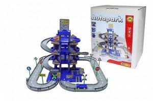 Паркинг 4-уровневый с дорогой и автомобилями (синий) (в коробке)