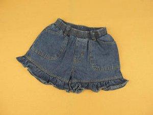 Шорты джинсовые с рюшами