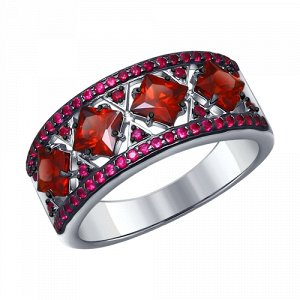 Кольцо серебряное с Гранатами