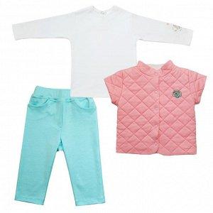 Комплект: водолазка, брюки (интерлок, принт), жилет (стежка, вышивка)
