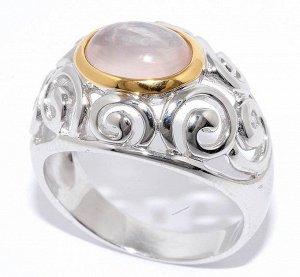 Серебрянное колечко на 17.5 размер вставка розовый кварц