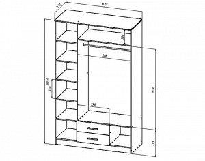 Шкаф 3-х створчатый 1400