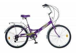 """Велосипед NOVATRACK 24"""" складной, фиолет., FS, 6скор. Shimano TY-21, тормоз 2руч.,сиден"""