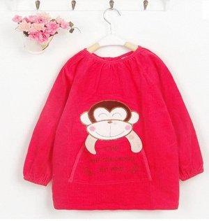Вельветовое платье-халат с обезьянкой