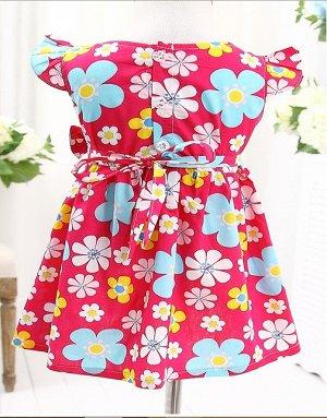 Платье в цветочек малиновое