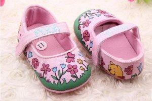 Туфельки-пинетки розовые с цветочным рисунком