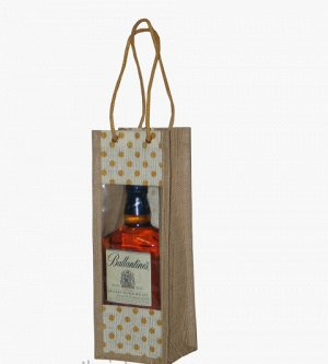 Джутовая сумка 11,5х35х10см винная  для 1 бутылки