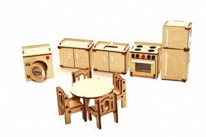 Мебель (длина/ширина/высота, см).  холодильник: 3,2*4*10. шкафчик с мойкой: 3,2*6*5. шкафчик: 3,2*6*5. кухонная плита: 3,7*5*5. стиральная машина: 4*5*5. стол обеденный: диаметр 6.5 см, высота - 4 см.