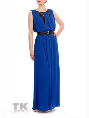 Платье в пол с широким поясом