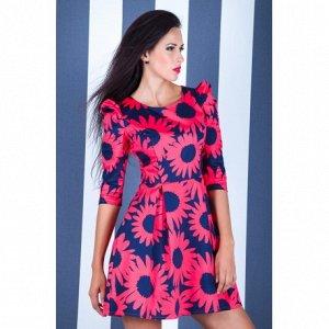 Платье Стрейч-котон, 85% хлопок, 15% Эластан, длина 89 см., рукав 44 см. Имеет небольшой складской запах, при стирке уходит
