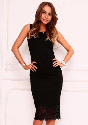Черное платье, внизу гипюр