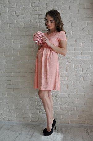 """Платье """"Алиса"""" с коротким рукавом, персик"""