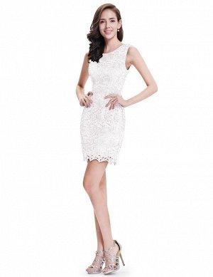 Короткое белое коктейльное кружевное платье