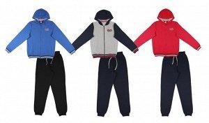 Костюм Производитель: ТМ Cherubino Артикул: CAJ 9488 синий-чёрный, с. меланж/ т. синий Полотно: футер петля плотный Состав: хлопок 100% Возраст: 7-14 комплект для мальчика: куртка с капюшоном, с длинн