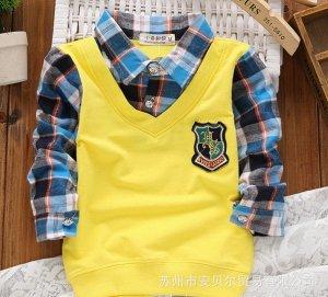 Рубашка с жилеткой с длинными рукавами с эффектом 2 в 1