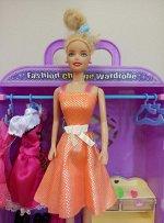 Платье блестящее оранжевое
